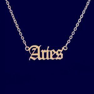 12 Astrological Letter Pendants Gold Necklace 925
